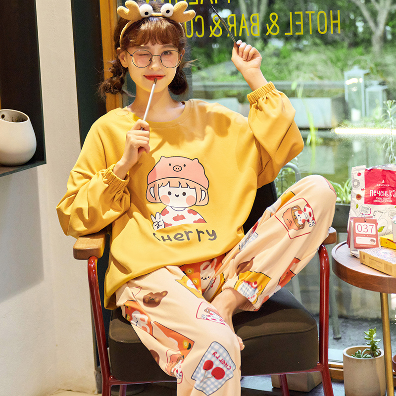 2020 new pyjamas women spring and autumn cotton long-sleeve cute cartoon can wear cotton home clothing two-piece suit.