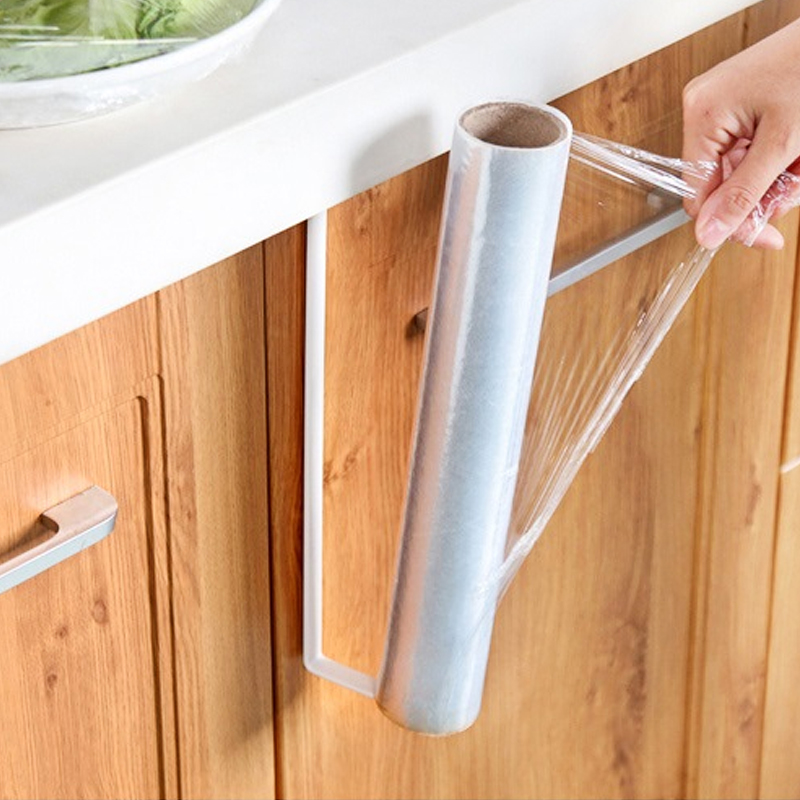 Thick kitchen paper holder refrigerator plastic wrap storage rack rack free  punch wall-mounted roll paper towel rack