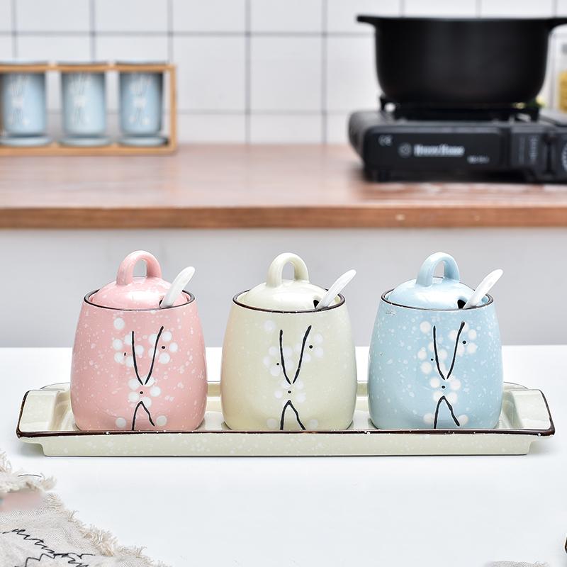 调料调味罐油盐厨房托盘套装罐带调料v调料日式创意陶瓷带勺家用盒