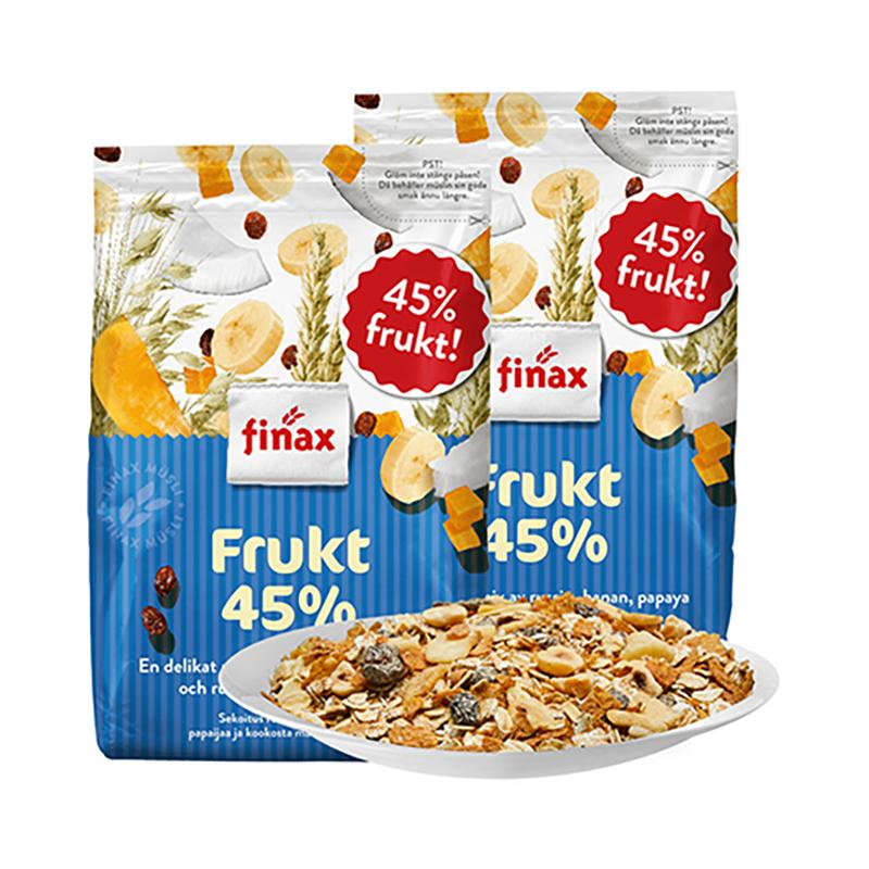 补券,瑞典进口,水果含量45%+:650gx2袋 Finax 脱脂水果坚果麦片