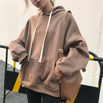 Autumn and winter women's Hong Kong chic chick baskets bat sleeve loose solid color retro camel hooded velvet sweater jacket