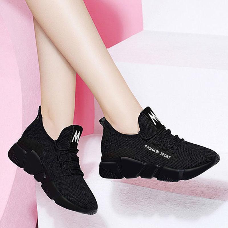 2019春季新款女鞋网红运动休闲鞋跑步运动鞋单鞋网鞋透气网面夏黑