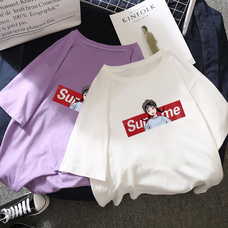 Короткий рукав Женский 2018 новая коллекция Летнее платье сиреневый футболки студентки корейская версия Ins super fire верх Втулка белый сочувствовать