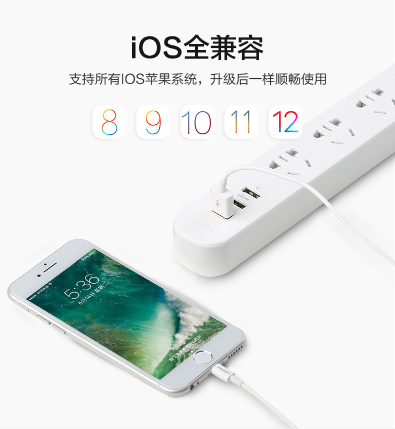 品胜数据线加长3米适用苹果充电器iPhone6快充6s三米7plus充电线x冲电8P数据线3m max加长2m iPadMini pro商品详情图