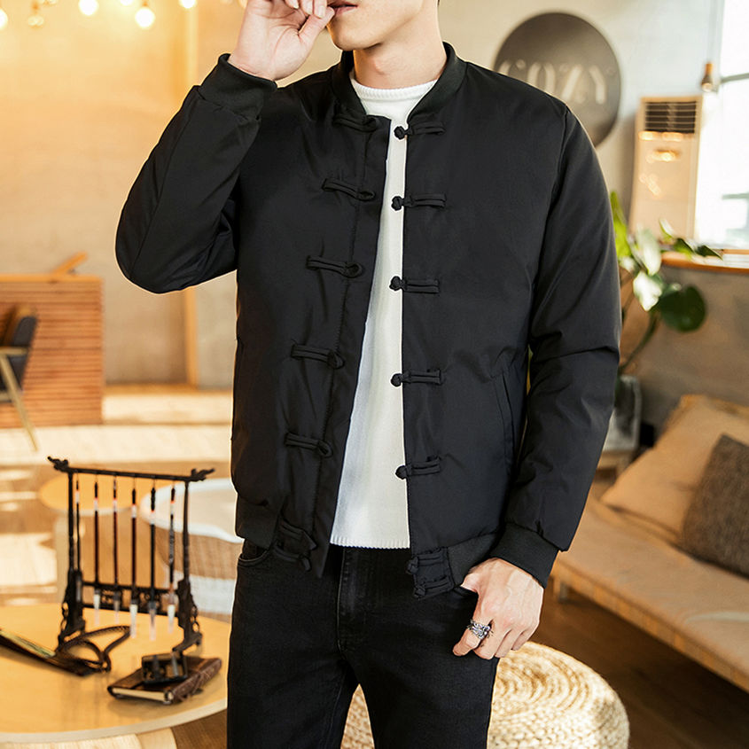 Áo khoác cotton kiểu Trung Quốc áo khoác nam kiểu dáng mỏng Hàn Quốc cổ áo bóng chày đệm bông Áo Trung Quốc khóa áo ấm bông đệm áo thủy triều thương hiệu áo khoác dày nam - Đồng phục bóng chày