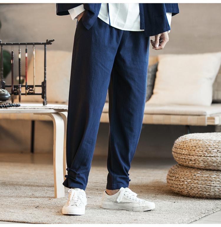 Phong cách trung quốc bông và vải lanh quần âu nam quần chùm kích thước lớn lỏng chất béo quần linen củ cải chân nhỏ đèn lồng harem quần