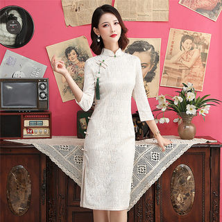 Improved cheongsam dress 2020 new young girl Chinese style slim slimming long cheongsam in the Republic of China