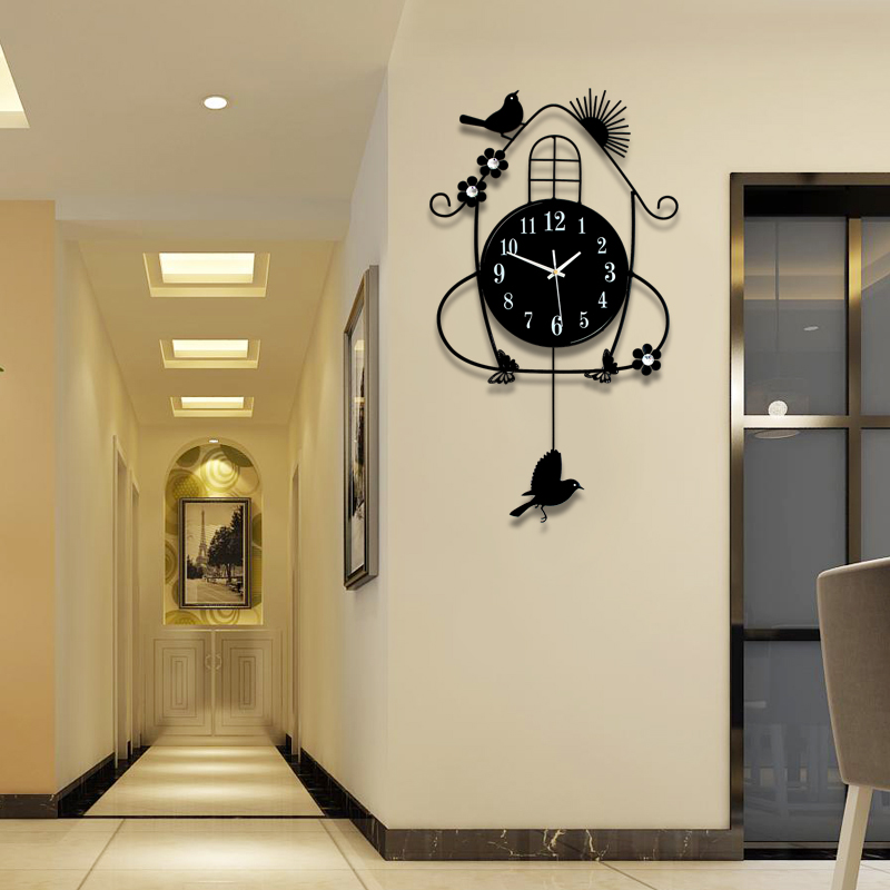 Clock Wall Clock Living Room Creative Simple European Style Modern Fashion  Clock Decoration Bedroom Mute