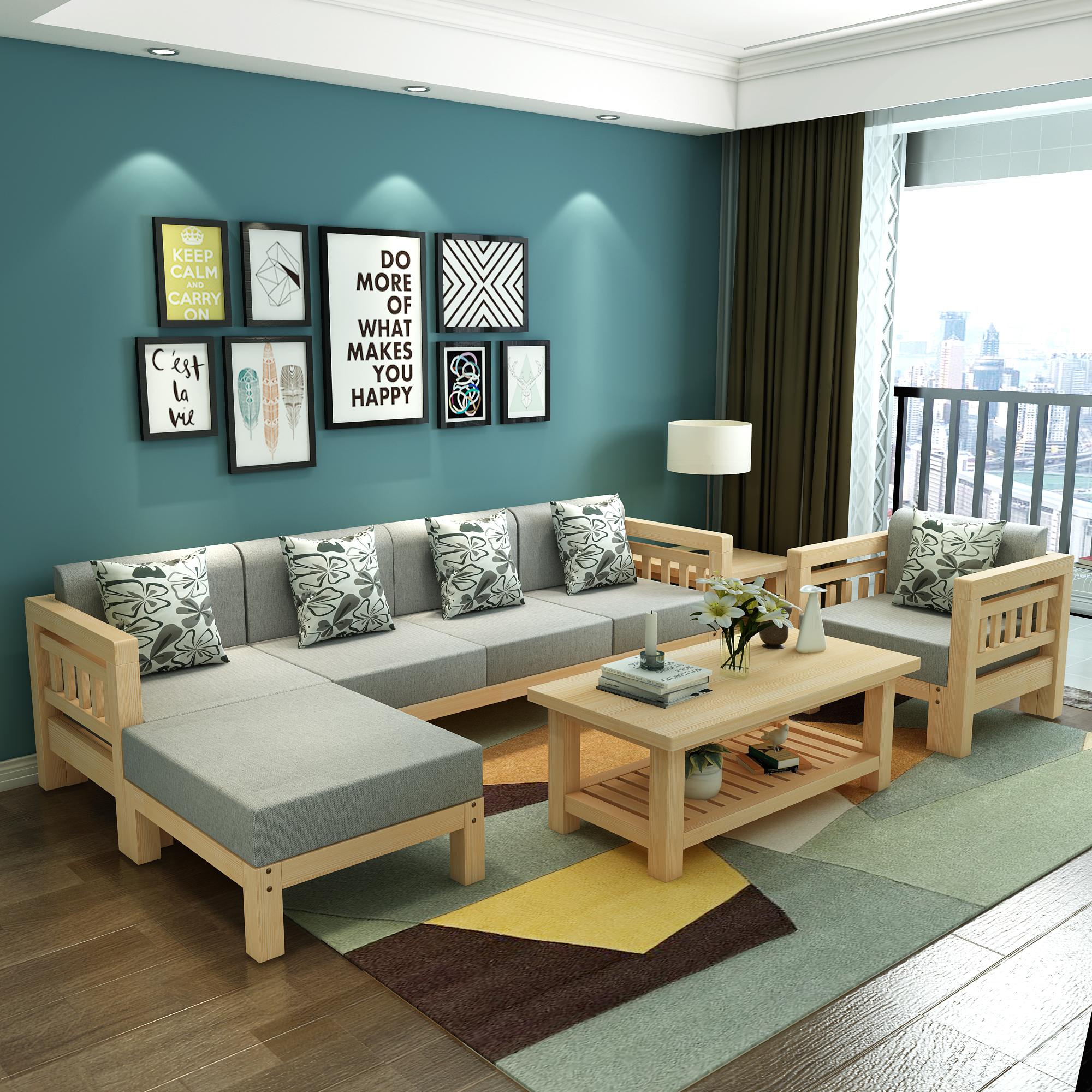 Дерево диван новый китайский стиль сочетание современный простой с передачей угол королевский небольшой квартира гостиная три человека ткань диван