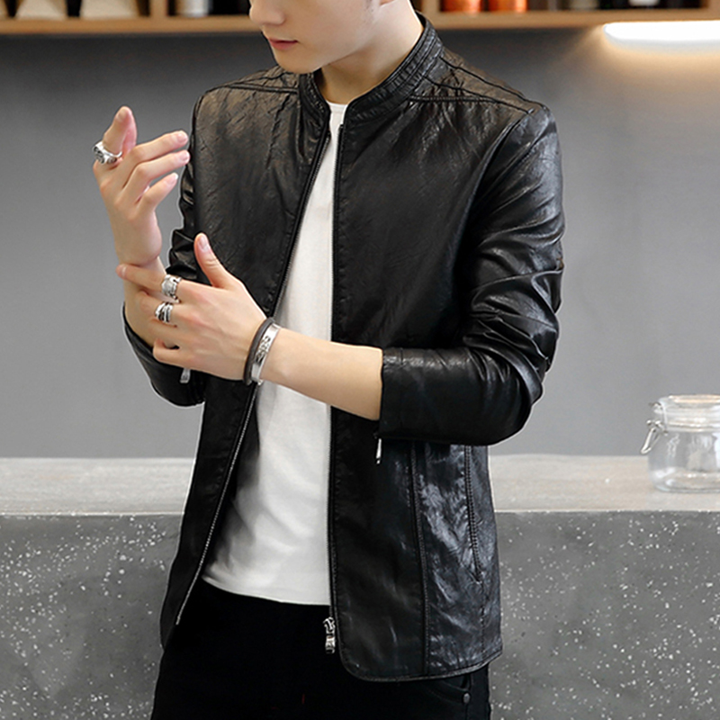 2020 new spring and autumn locomotive leather jacket men PU leather jacket Korean version of the fashion jacket handsome Haining youth.