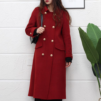 2020 new double-sided cashmere coat women's long high-end over-the-knee Korean loose loose Hepburn style wool jacket