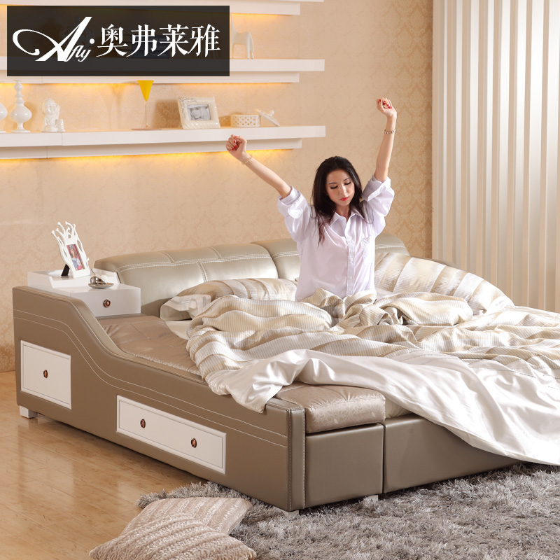 Leather bed genuine leather bed simple and modern atmosphere round bed bed  multifunctional tatami bed bedroom overall