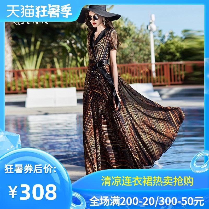 2020夏季新款雪纺V领气质时尚连衣裙条纹收腰显瘦裙子大摆长短袖
