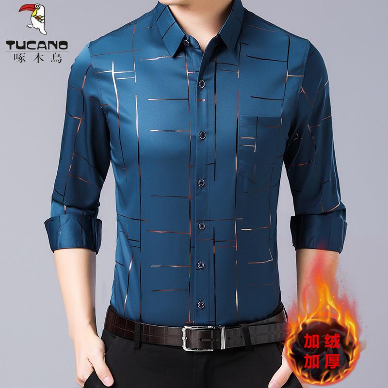 啄木鸟男士长袖衬衫男冬季中年加厚加绒保暖印花时尚休闲免烫衬衫