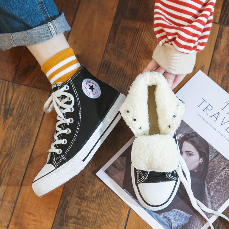 加绒帆布鞋女秋冬季保暖学生百搭韩版ulzzang板鞋ins布鞋2020新款