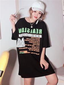 2019歐洲站新款女裝潮流個性短袖寬松全棉T