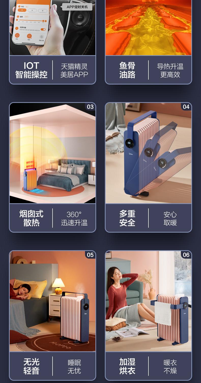 美的 旗舰新品 智能恒温电油汀取暖器 APP+语音 远程超控 图2