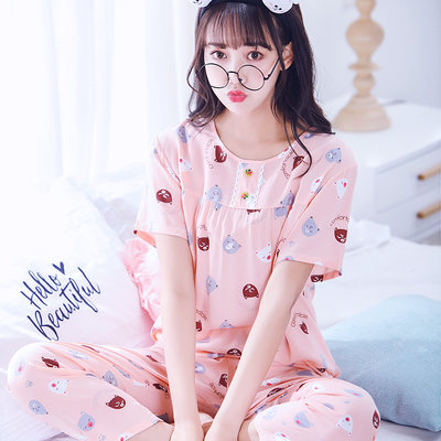 Cotton silk pajamas ladies summer suit short-sleeved cute thin summer cotton silk spring and autumn home service new 2020