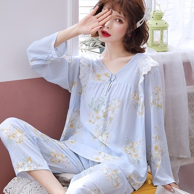 Cotton silk pajamas women's spring and autumn long-sleeved cotton silk suits can be worn out, home clothes, thin, cute, new 2021