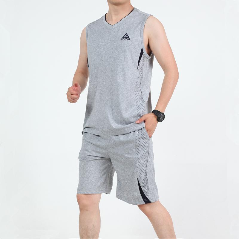 中年套装男士夏季薄款日常休闲运动汗背心父亲大码宽松衣服两件套