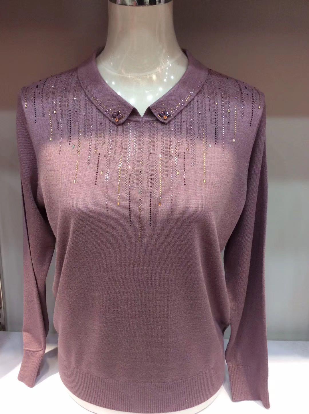 中年春装上衣高贵针织妈妈洋气T恤中老年女薄款毛衣长袖打底小衫