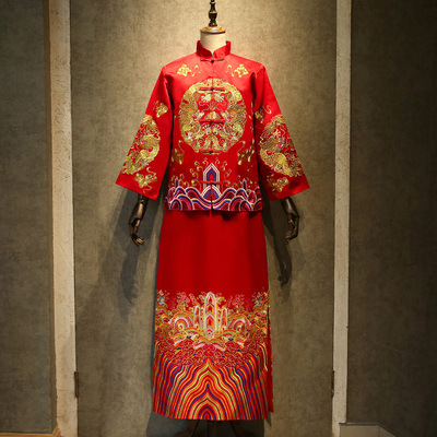 Chinese wedding dress, retro dragon and Phoenix jacket toast dress, antique dress and groom dress Traditional Chinese Clothing