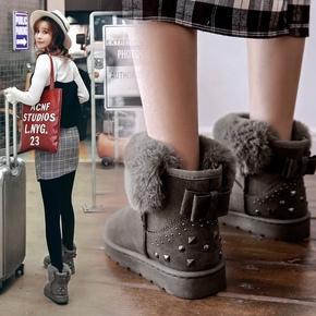 【妙钻】秋冬加绒加厚雪地靴铆钉保暖棉鞋