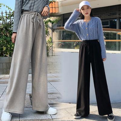 高腰垂感阔腿裤女直筒纯棉休闲裤
