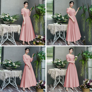 Evening dress prom gown Bridesmaid Dress sister group simple atmosphere long dress dress skirt looks thin