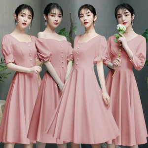 Evening dress prom gown Bridesmaid Dress Medium Length sister group simple atmosphere small evening dress