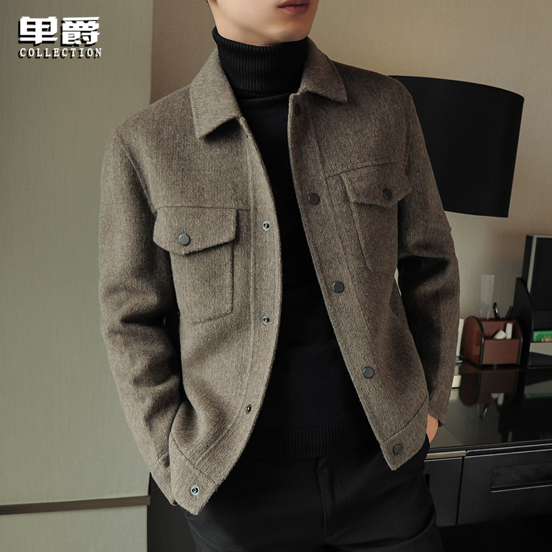 Men's double-sided wool jacket short work jacket spring and autumn lapel trend coat no cashmere top