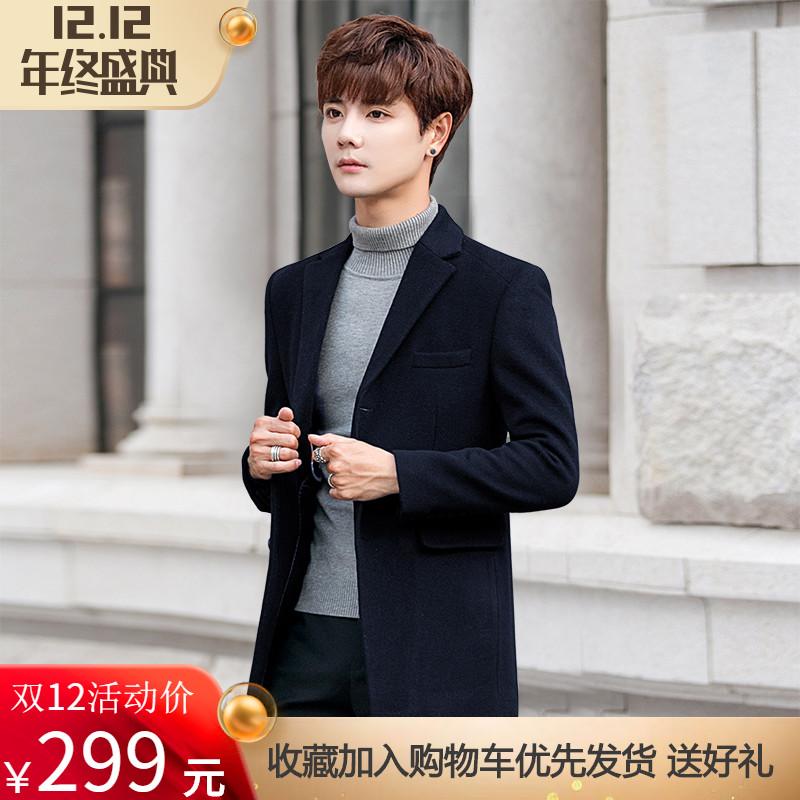 羊毛呢子休闲西服韩版修身青年男士小西装秋冬季加厚妮子外套潮流