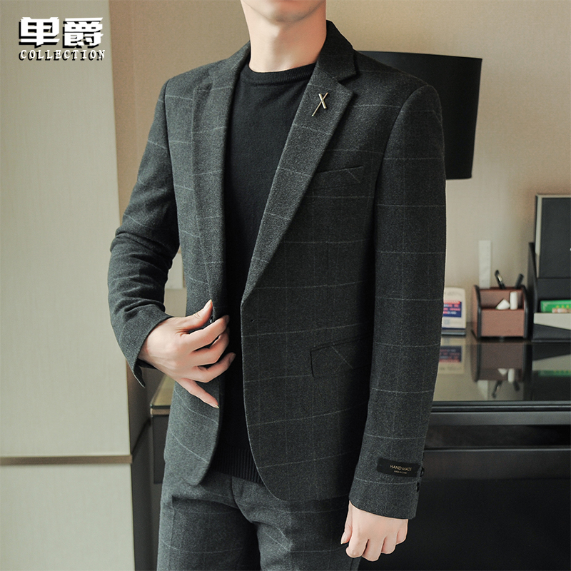Men's plaid mini-suit a set of Korean casual fashion handsome suit jacket spring top body top body dress