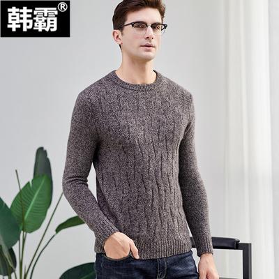 Áo len cashmere mùa đông nam dày cổ tròn áo len áo len nam áo len len thô - Kéo qua