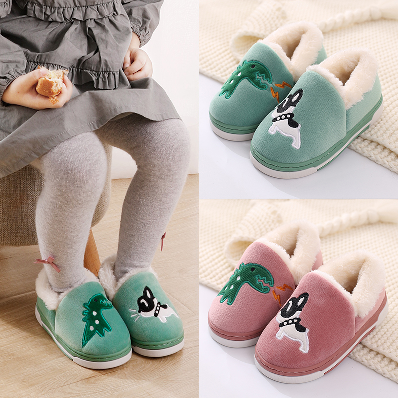 Children's cotton slippers winter bag with boys baby parent-child fur slippers warm cute home kids cotton shoes