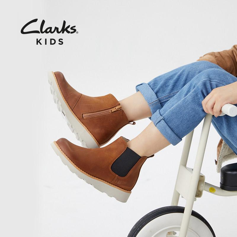 限0-2点 Clarks 其乐 Crown Halo 中大童时尚切尔西短靴 双重优惠折后¥199包邮 24-35.5码4色可选