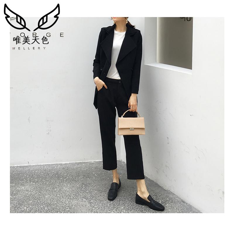 欧货黑色小西装外套女式2019春秋季新款宽松休闲英伦风西服上衣