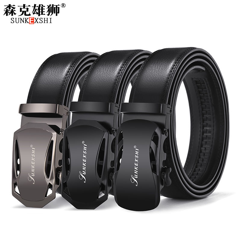 07f70e649f0 Leather belt men s belt leather automatic buckle youth business ...