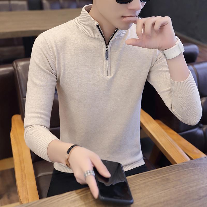 2018冬季毛线拉链衣服男青年男款针织衫套头加厚毛衣高领打底衫潮