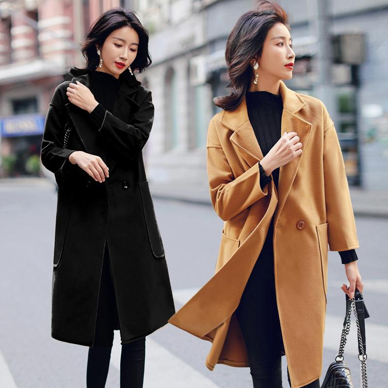 黑色毛呢外套流行双面呢子大衣女中长款韩2018新款秋冬学生小个子
