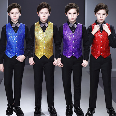 Boy's jazz dance sequin coats chorus host singer performance jacket blazers Boy sequined vest suit flower boy suit Host Children suit show piano performance