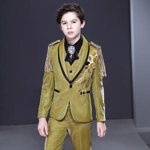 Boy's jazz dance sequin coats chorus host singer performance jacket blazers Children suit boy Flower Girl Dress Suit boy show dress