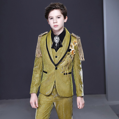 Boy's jazz dance sequin coats chorus host singer performance jacket blazers Children suit boy Flower Girl Dress Suit boy show dress