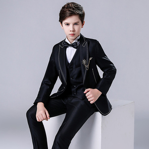 Boy's jazz dance sequin coats chorus host singer performance jacket blazers Children suit boy dress handsome three piece suit