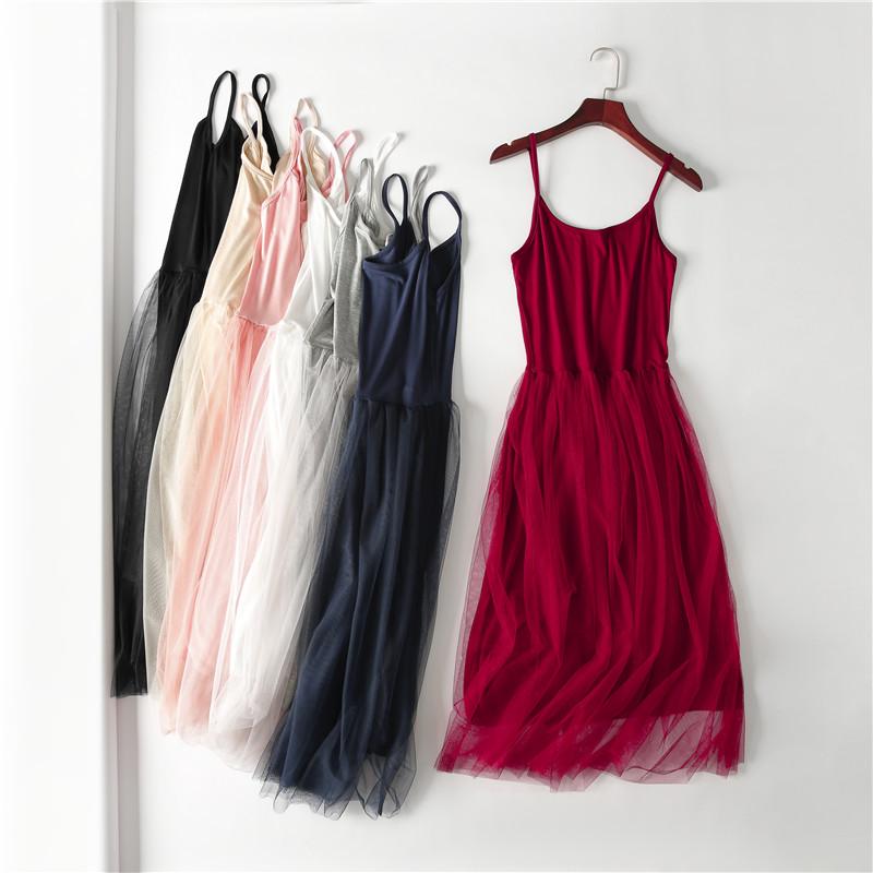 Юбка слинг юбка сетка юбка лето 2019 новая коллекция без Рукавное платье с нижней юбкой большой размер Mo поколение Длинная юбка