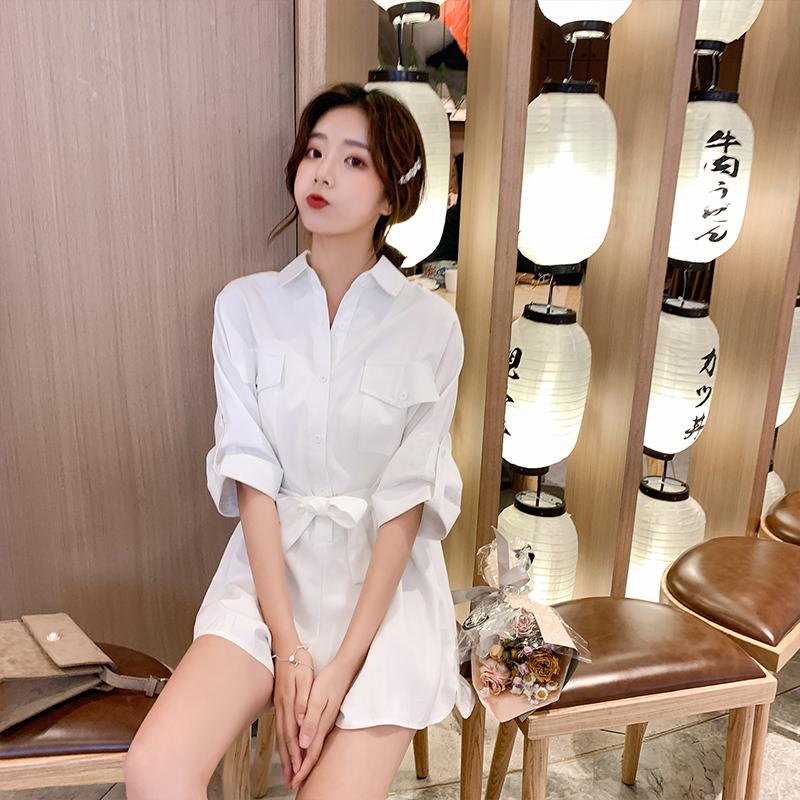 2019夏季新款韩版纯系带v系带短裤女装连体衣白色衬衫显瘦五分袖潮