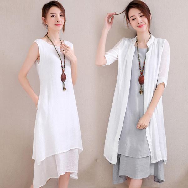 赛荷 棉麻 披肩+连衣裙 两件套 优惠券折后¥88包邮(¥148-60)多套色可选
