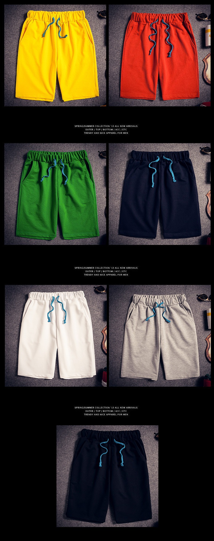 Hàn quốc phiên bản của giản dị nửa chân quần thủy triều quần nam quần xã hội mặc năm điểm ngắn mạch quần mùa hè lớn quần đầu quần short nam
