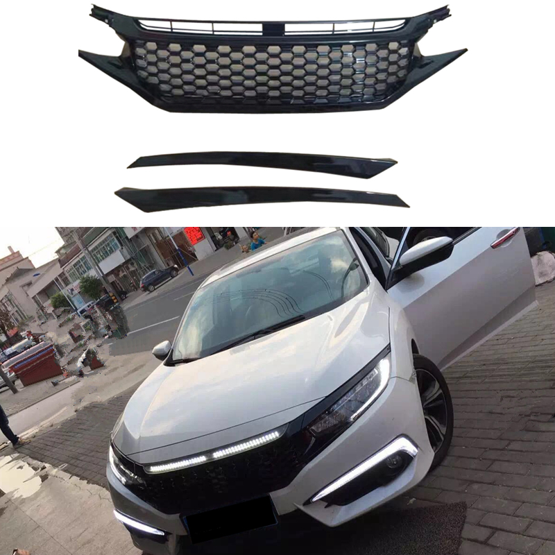 Hi Q Front Hood Grill Grilles Honeycomb Replacement For Honda Civic 10th 2016