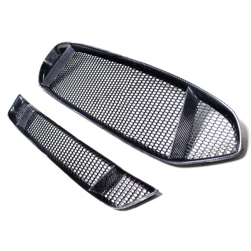 2pcs Front Grille Bumper Grille Carbon Fiber For Ford